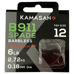 Kamasan B911 Wide Gape Swept Point Hook to Nylon - Barbless