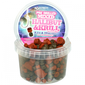Bait-Tech Pre-Drilled Halibut and Krill Pellets 300g
