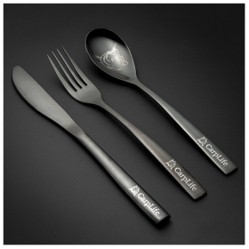 CarpLife Products Black Etched Stainless Steel Cutlery Set